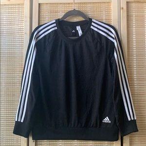 Adidas black 3 stripe long sleeve top size XS